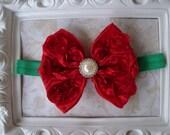 Christmas Headband - Red Baby Headband - Newborn Headband - Photo Prop -Christmas Red and Green Bow