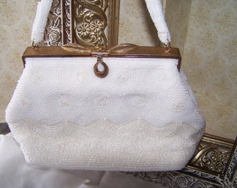 Vintage White Beaded Purse, Bridal Purse, Elegant White Seed Bead HandBag