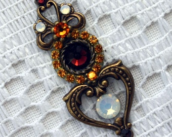 Multi Colored Heart Bindi in Oxidized Brass