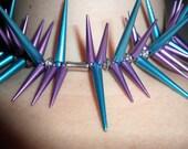 Punk Spike Necklace Set Bubblegum Goth in Purple and Blue