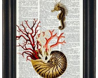 BOGO SALEL Seahorse Print Dictionary Sealife Art Print Dictionary Art Print HHP Original Upcycled Vintage Dictionary Book Page Print