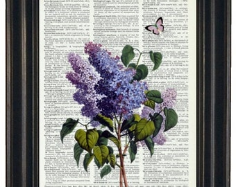 BOGO SALE FLOWER Print Lilac Print Purple Butterfly Art Print Upcycled Dictionary Art Vintage Dictionary Book Page 8 x 10