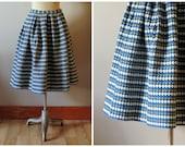 vintage 1950s embroidered diamonds skirt / 50s blue yellow black and white handmade full skirt