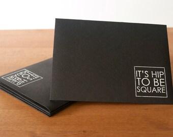 black envelopes set of five: hip to be square retro