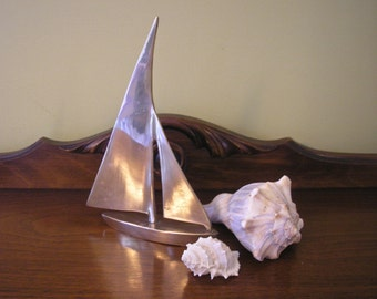 Vintage Brass Sailboat, Nautical Decor