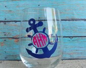 Monogrammed Anchor Stemless Wine Glass