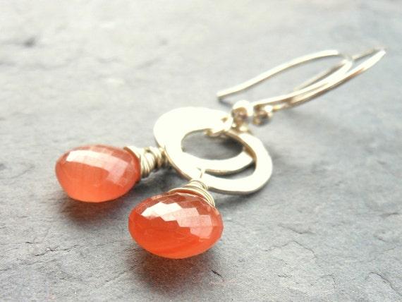 Rhodochrosite Earrings Sterling Silver Wire Wrapped Gemstone Earrings, Salmon Pink Peach