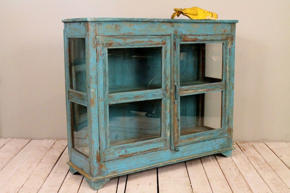 Reclaimed Vintage Distressed Indian Industrial Jodhpur Blue