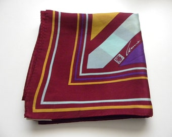 Vintage Anne Klein Silk Scarf - Striped Geometric Pattern in Cranberry, Aqua, Gold and Royal Purple
