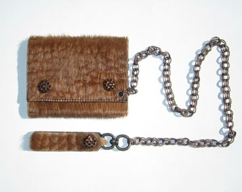 Fur embossed with Croc pattern wallet with copper double link chain.