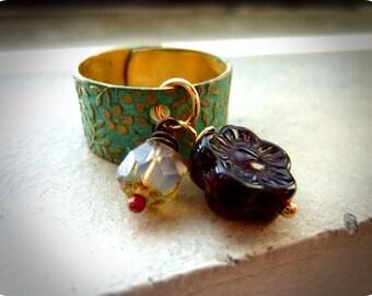 40% OFF SALE! - Artisan Verdigris Floral Brass Patina Ring
