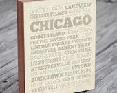 Chicago Neighborhood Art Print - Wood Block Wall Art Print - Chicago Art