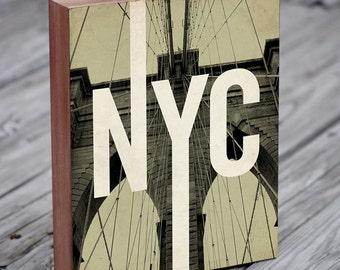 Brooklyn Bridge - Brooklyn Art - NYC Art - Wood Block Art Print