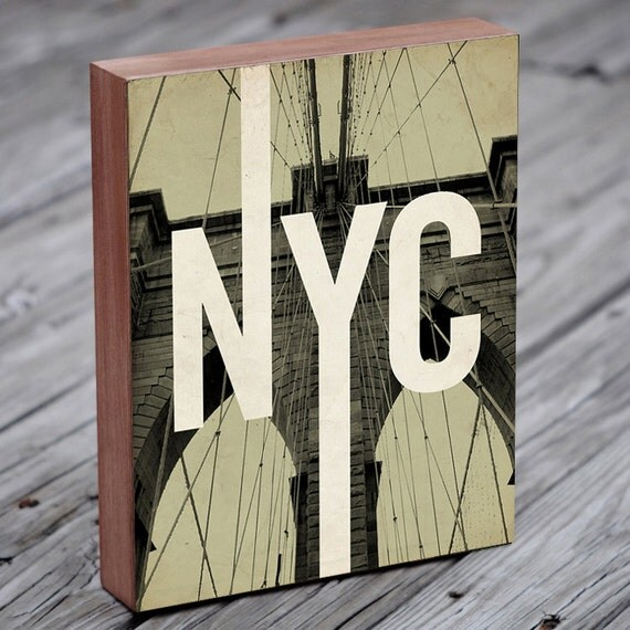Brooklyn Bridge - Brooklyn Art - NYC Art - Wood Block Art Print