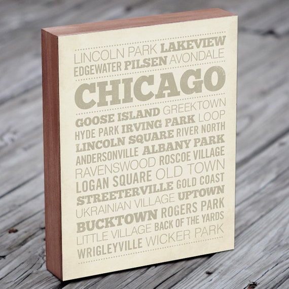 Chicago Neighborhood Art Print - Wood Block Wall Art Print - Chicago Art