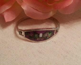 Alpaca Silver Bracelet, Young Girls, Shell Inlay Design, Abalone, Purple, Butterfly Pattern