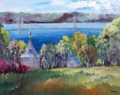 The island of Orleans bridge - Original Canadian oil painting by Shirley Levie, 12'' X 16'' impressionist painting for your home decor