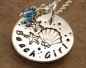 Hand Stamped Necklace - Beach Girl - Seashell - Starfish - Sterling Silver Jewelry -  Choice of Birth Crystal or Pearl