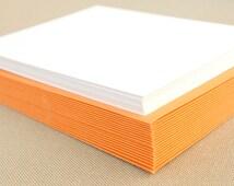 Blank Stationery Set with Light Orange Envelopes - Set of 20 Flat A2 Size Cards