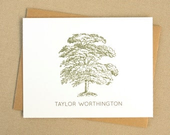 Personalized Oak Tree Stationery with Name / Personalized Folded Stationary Set