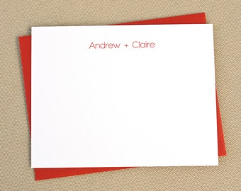 Personalized Flat Stationery Cards with Names / Modern His and Hers Stationary Set