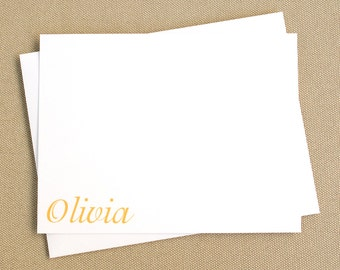 Personalized Flat Stationery Cards with Name in Lower Corner / Personal Stationary Gift Set
