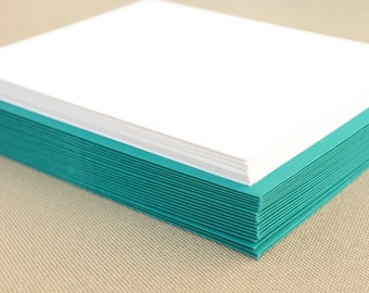 Blank Set of Cards with Teal Envelopes - Set of 20 Flat A2 Size Cards