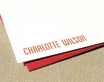 Modern Personalized Stationery Notecard Set / Personalized Flat Stationery Cards with Name
