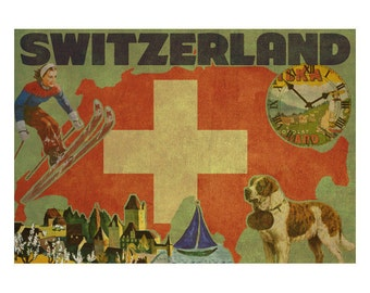 SWITZERLAND 2FS- Handmade Leather Journal / Sketchbook - Travel Art