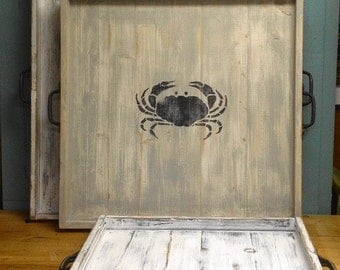 Ottoman Tray 26 Inch Large Monogram Serving Tray Beach House Nautical Country Living Style by CastawaysHall