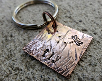 "Fly - Textured Hand Stamped 3/4"" Square keychain"