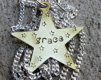 Grace - Hand Stamped Necklace    -Made to Order-