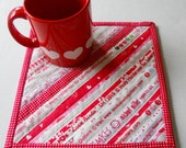 Valentine Quilted Mug Rug, Coaster, Mug Mat, Snack Mat, Red and White
