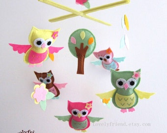 Morning Owls Mobile - Baby Mobile - Pink and Green Crib mobile - Nursery Mobile (Choose Your Felt Color)