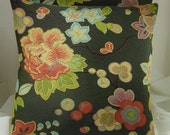 Pair of Decorative Accent Pillows, multi color floral on black,