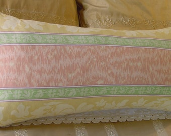"""Bolster Accent Pillow, Brunschwig-Fils """"Damaris Stripe"""" Fabric, Apricot, Lime, Yellow, 12 x 26 inches"""