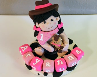 Custom Cowgirl Cake Toppers for Birthday or Baby Shower