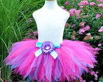 Hot Pink Birthday Tutu, featuring hints of Purple and Turquoise Tulle...Baby, Toddler, Girls, Adult . . . FEISTY FUCHSIA