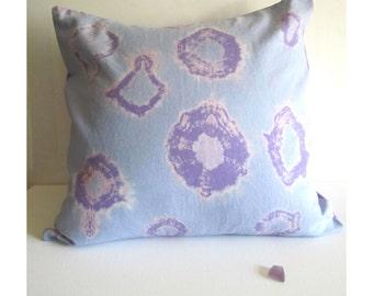 "Shibiri Pastel Pillow, Serenity Blue, 16x16"" Decorative Pillow Cover, Tie Dye Pillow, Hand Dyed Pastel Decor"