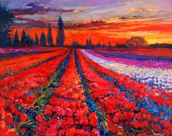 Original Oil Tulips field painting 23in x 20in, Landscape Painting Original Art Impressionistic OIl on Canvas by Ivailo Nikolov