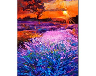 Original Landscape Oil Painting- Lavender Sunset - Colorful Contemporary Wall Art - Landscape Summer Spring - By Ivailo Nikolov