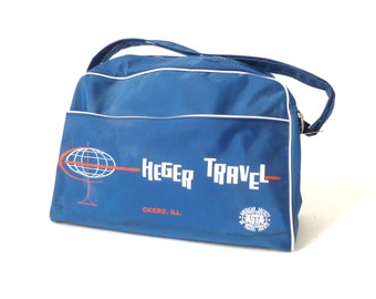 Vintage Blue Vinyl Carry on Bag ... Travel Bag, ASTA, Airline Bag, 1960s, Atomic, Flight Bag, Vinyl Bag, Heger Travel, Retro Hipster Handbag