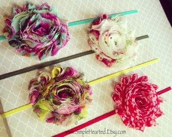 Summer Floral Chiffon Flower Headband: Set of All 4 + Shabby Chic Rose Skinny Elastic Headband + Customize Your Mounting