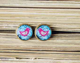 Bird stud earrings - bird studs earrings, tiny pink bird studs earrings, cute bird studs, birds jewelry, gifts idea for her - ready to ship