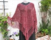 Hand Knit Poncho, Dusty Rose, Ultra Suede Yarn, Fringed Poncho, Soft, Elegant Wrap, Handmade, Lacy Stitch, Womens Accessory, Pullover Poncho