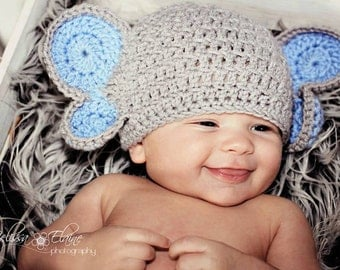 Elephant Crochet Hat and Diaper Cover with Tail Photography Prop