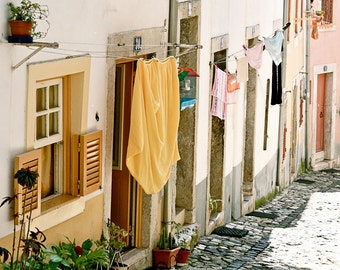 Portugal Photography - Laundry Room Art Print - Lisbon Street Photograph Portuguese Decor Rustic European Decor Travel Photo Yellow