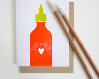 Letterpress Card - You're a Hottie