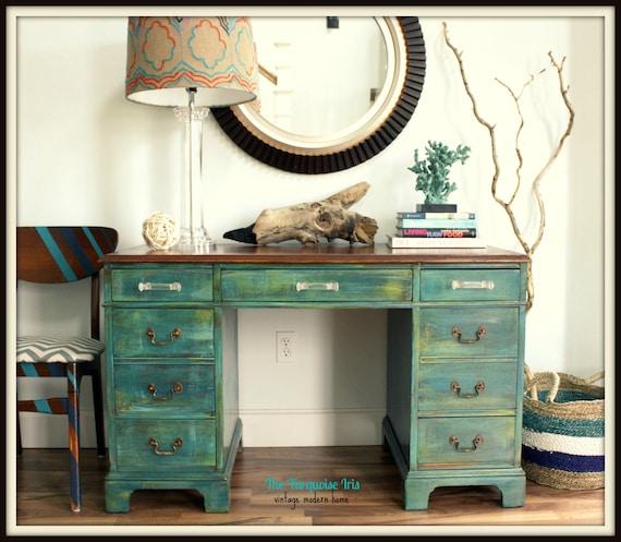SALE SALE Antique Teal Desk Vanity with Re Finished