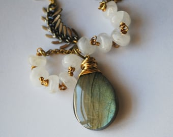 Glow....Gorgeous Labradorite and Moonstone Necklace